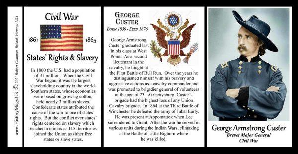George Armstrong Custer, Union Army, US Civil War biographical history mug tri-panel.