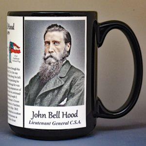 John Bell Hood, Confederate Army, US Civil War biographical history mug.