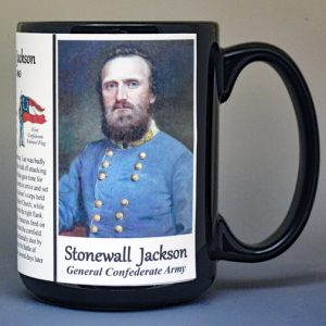 Stonewall Jackson, Confederate Army, US Civil War biographical history mug.