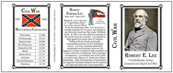Robert E. Lee Civil War biographical history mug tri-panel.