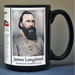 James Longstreet, Confederate Army, US Civil War biographical history mug.