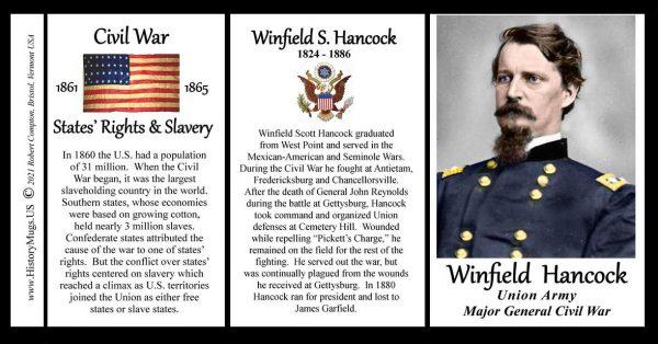 Winfield Scott Hancock, Major General Union Army, US Civil War biographical history mug tri-panel.