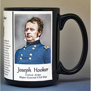 Joseph Hooker, Union Army, US Civil War biographical history mug.