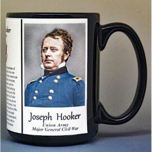 Joseph Hooker, Union Army, US Civil War biographical history mug.