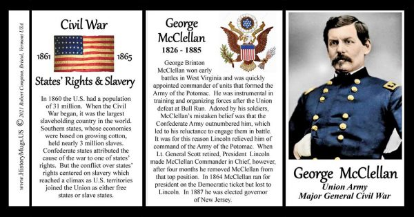 George McClellan, Union Army, US Civil War biographical history mug tri-panel.