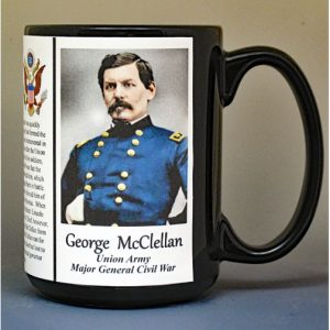 George McClellan, Union Army, US Civil War biographical history mug.