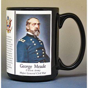 George Meade, Union Army, US Civil War biographical history mug.