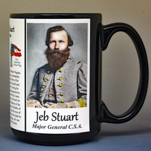 Jeb Stuart, Confederate Army, US Civil War biographical history mug.