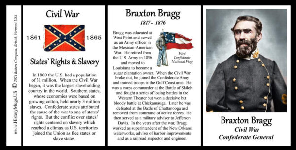 Braxton Bragg, US Civil War biographical history mug tri-panel.
