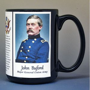 John Buford, Union Army, US Civil War biographical history mug.