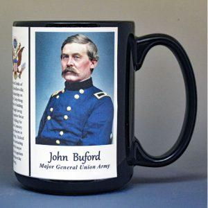 John Buford, Union Army, US Civil War biographical history mug.
