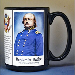 Benjamin Butler, Union Army, US Civil War biographical history mug.