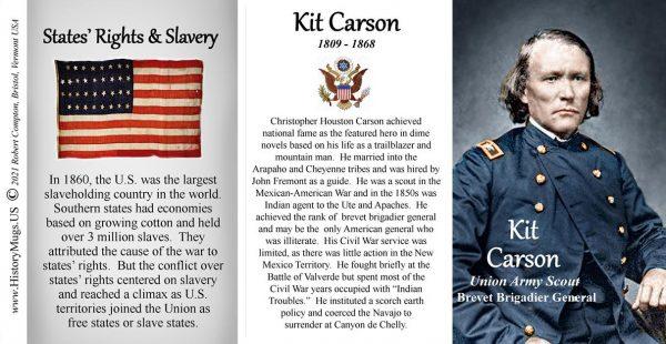 Kit Carson, Union Army Scout, US Civil War biographical history mug tri-panel.