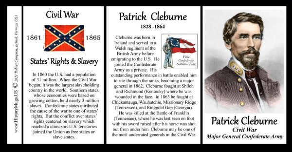 Patrick Cleburne, US Civil War biographical history mug tri-panel.