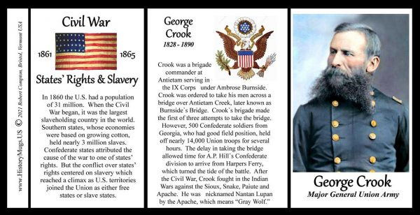 George Crook, US Civil War biographical history mug tri-panel.