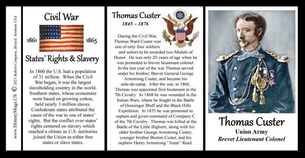 Thomas Custer, Union Army, US Civil War biographical history mug tri-panel.