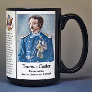 Thomas Custer, Union Army, US Civil War biographical history mug.