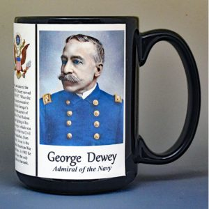 George Dewey, US Navy Admiral, US Civil War biographical history mug.
