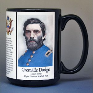 Grenville Dodge, Union Army, US Civil War biographical history mug.