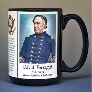 David Farragut, Rear Admiral US Navy, US Civil War biographical history mug.