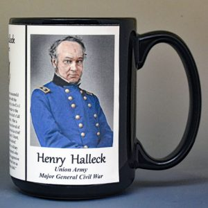Henry Halleck, Union Army, US Civil War biographical history mug.