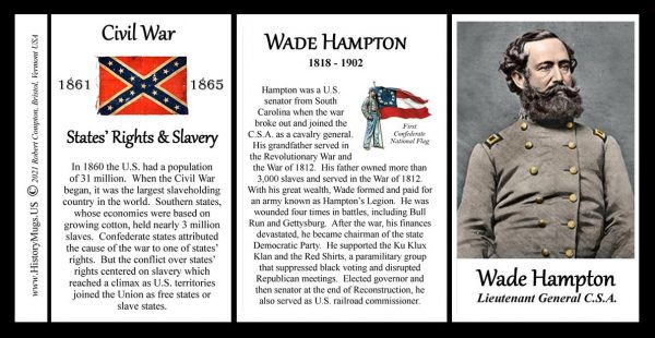 Wade Hampton, US Civil War biographical history mug tri-panel.