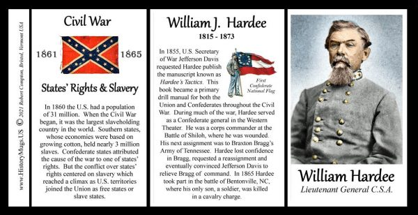 William Hardee, US Civil War biographical history mug tri-panel.