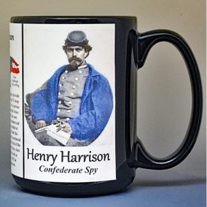 Henry Harrison, Confederate Spy, US Civil War biographical history mug.