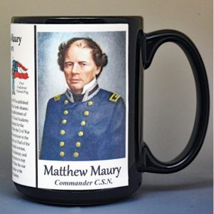 Matthew Maury, Confederate Army, US Civil War biographical history mug.