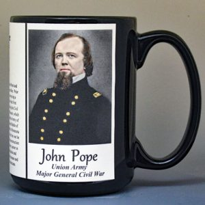 John Pope, Union Army, US Civil War biographical history mug.