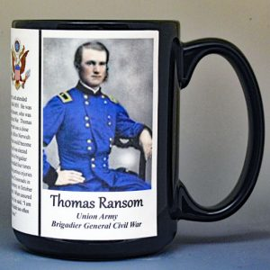 Thomas Ransom, Union Army, US Civil War biographical history mug.