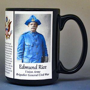 Edmund Rice, Union Army, US Civil War biographical history mug.