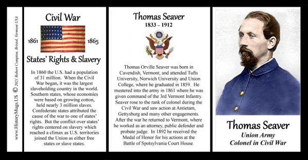Thomas Seaver, Colonel Union Army, US Civil War biographical history mug tri-panel.
