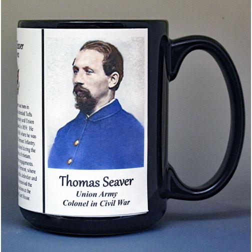 Thomas Seaver, Colonel Union Army, US Civil War biographical history mug.