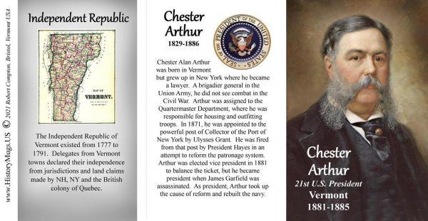Chester Arthur, US President, Vermont History biographical mug tri-panel.
