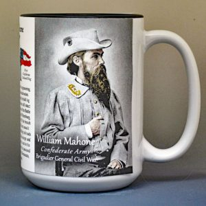 William Mahone, Confederate Army, US Civil War biographical history mug.