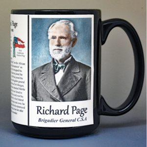 Richard Page, Confederate Army, US Civil War biographical history mug.