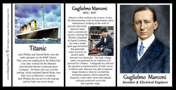 Guglielmo Marconi, scientist & inventor biographical history mug tri-panel.
