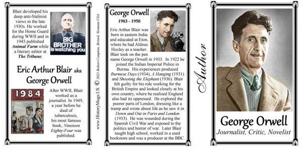 George Orwell, author biographical history mug tri-panel.