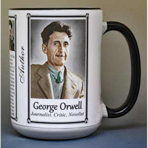 George Orwell, author biographical history mug.