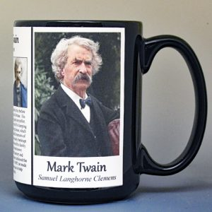 Mark Twain, American author biographical history mug.
