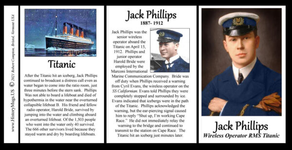Jack Phillips, senior wireless operator on The Titanic biographical history mug tri-panel.
