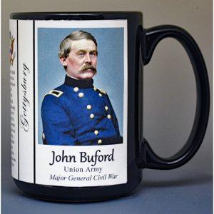 John Buford, Battle of Gettysburg biographical history mug.