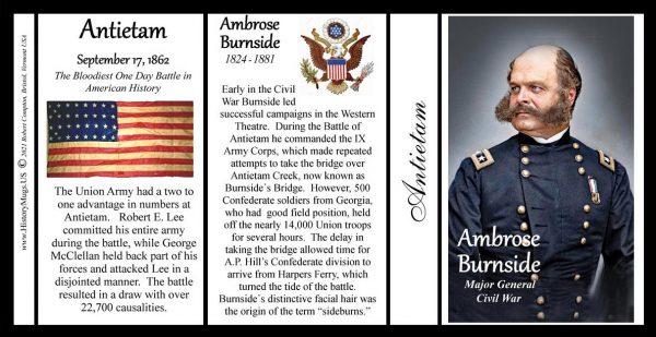 Ambrose Burnside, Battle of Antietam biographical history mug tri-panel.