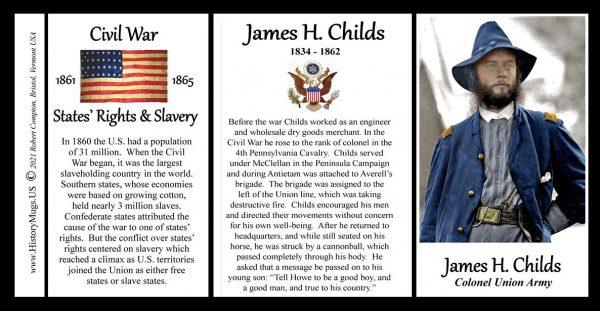 James Childs, Union Army, US Civil War biographical history mug tri-panel.