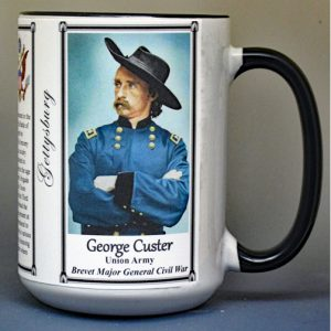 George Armstrong Custer, Battle of Gettysburg biographical history mug.