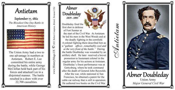 Abner Doubleday, Battle of Antietam biographical history mug tri-panel.