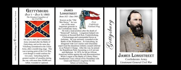 James Longstreet, Gettysburg biographical history mug tri-panel.