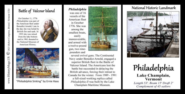 The Philadelphia, American Revolution biographical history mug tri-panel.