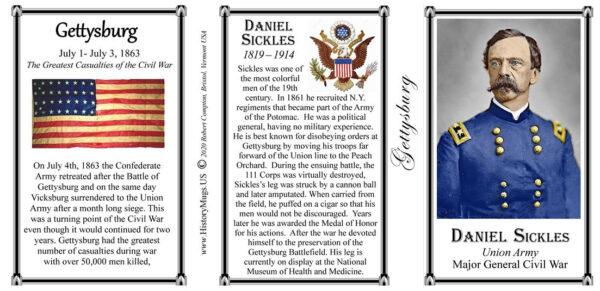 Daniel Sickles, Gettysburg history mug tri-panel.
